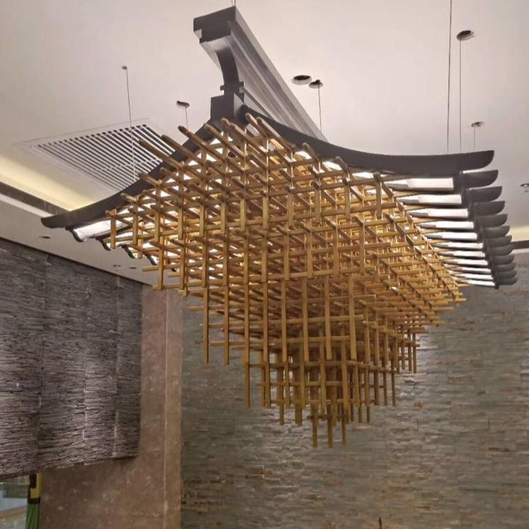 Modern hotel decorative lighting customizable size luxury wood pendant lighting