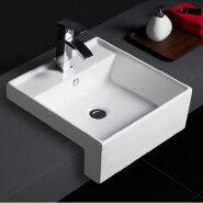 589 Wholesale sanitaryware table counter semi recessed ceramic wash basin