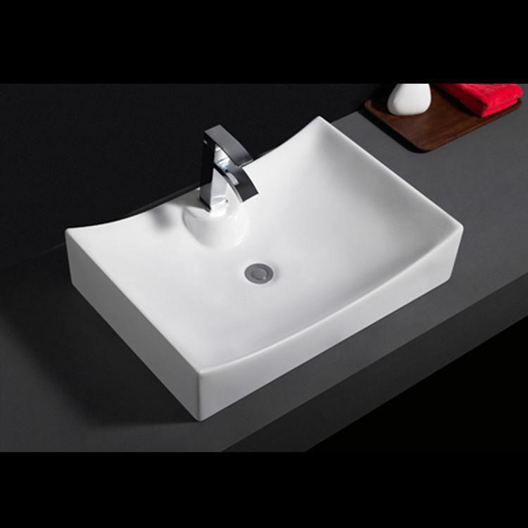 585 Western style white glaze hotel used face hand wash ceramic vessel basins