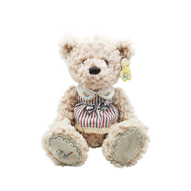 Customized 30cm cute stuffed animals teddy bear plush toys with floral skirt