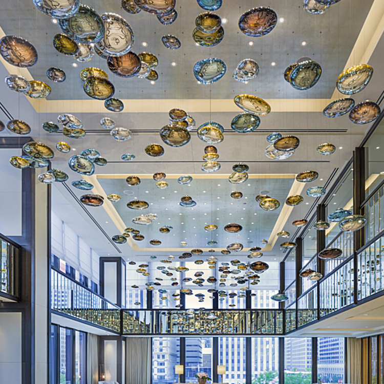 Contemporary decoration glass custom crystal ball round modern colorful circular chandelier pendant light