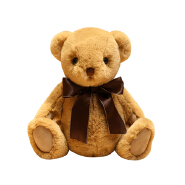 wholesale pink white and brown stuffed animal toy bear plush wearing bow-knot