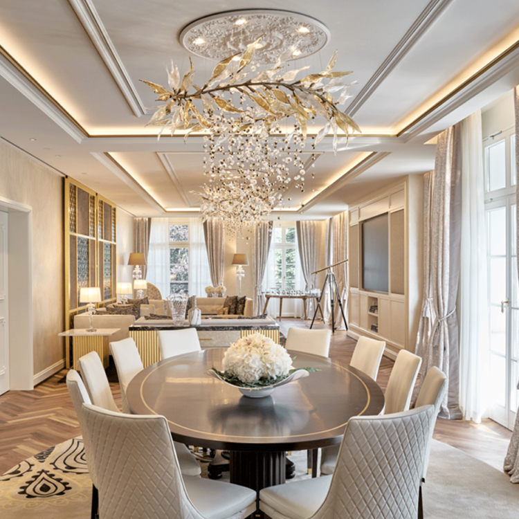 Contemporary glass iron custom Big project indoor decoration chandelier pendant light