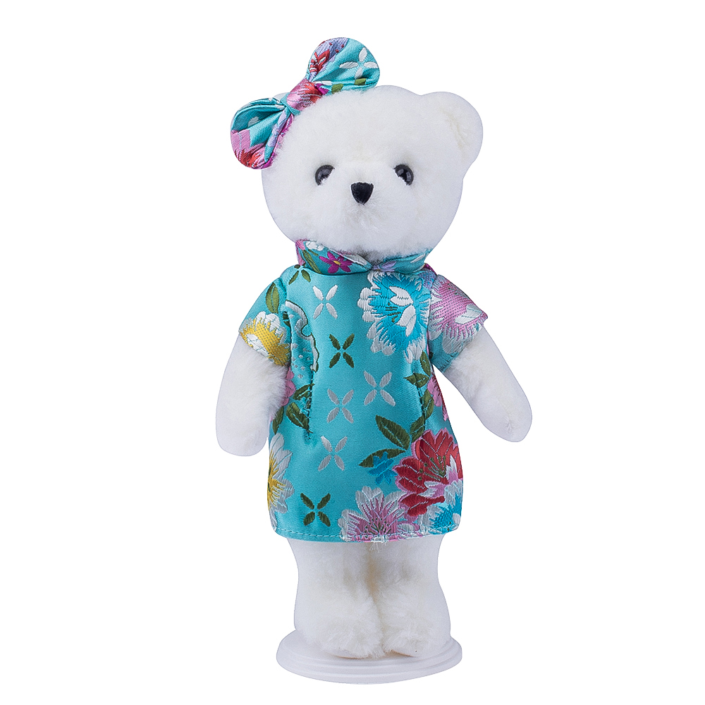 customized plush toy for more than 3 years old animal toy plush bear with cheongsam