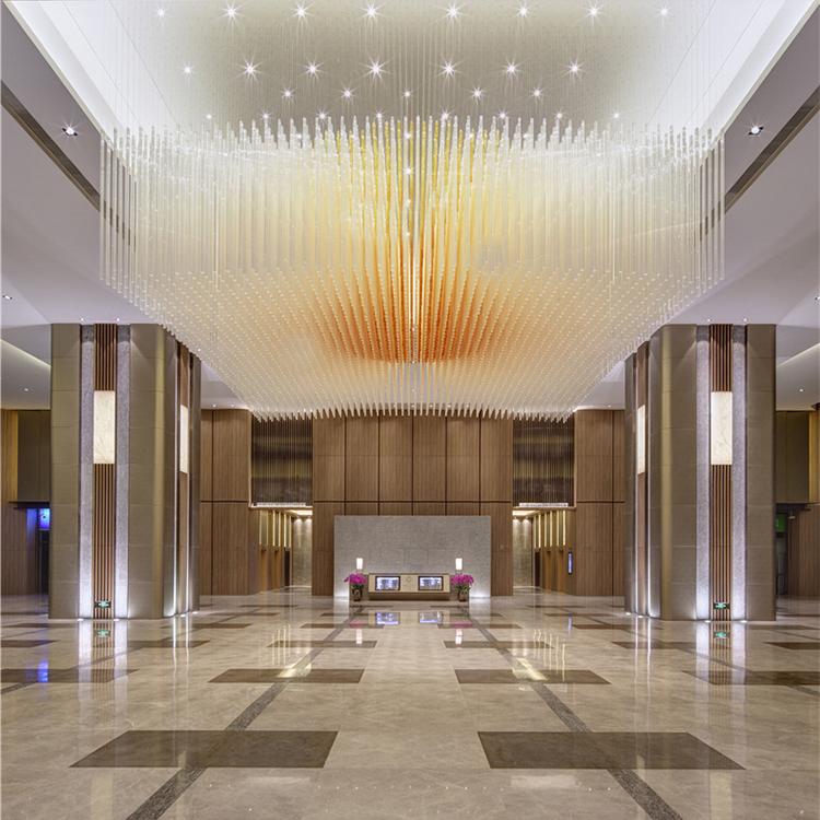 Factory supply custom modern colorful glass Big project chandelier pendant light