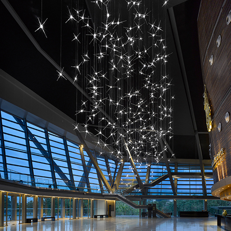 New style modern fashion customizable glass K9 crystal Big project chandelier pendant light