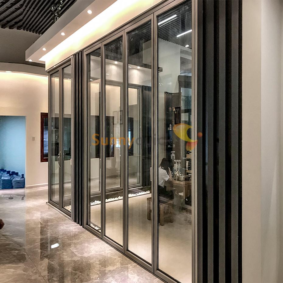 Sunnyquick residentialaluminum glass bi-fold door aluminium alloyed bi folding sliding doors frame