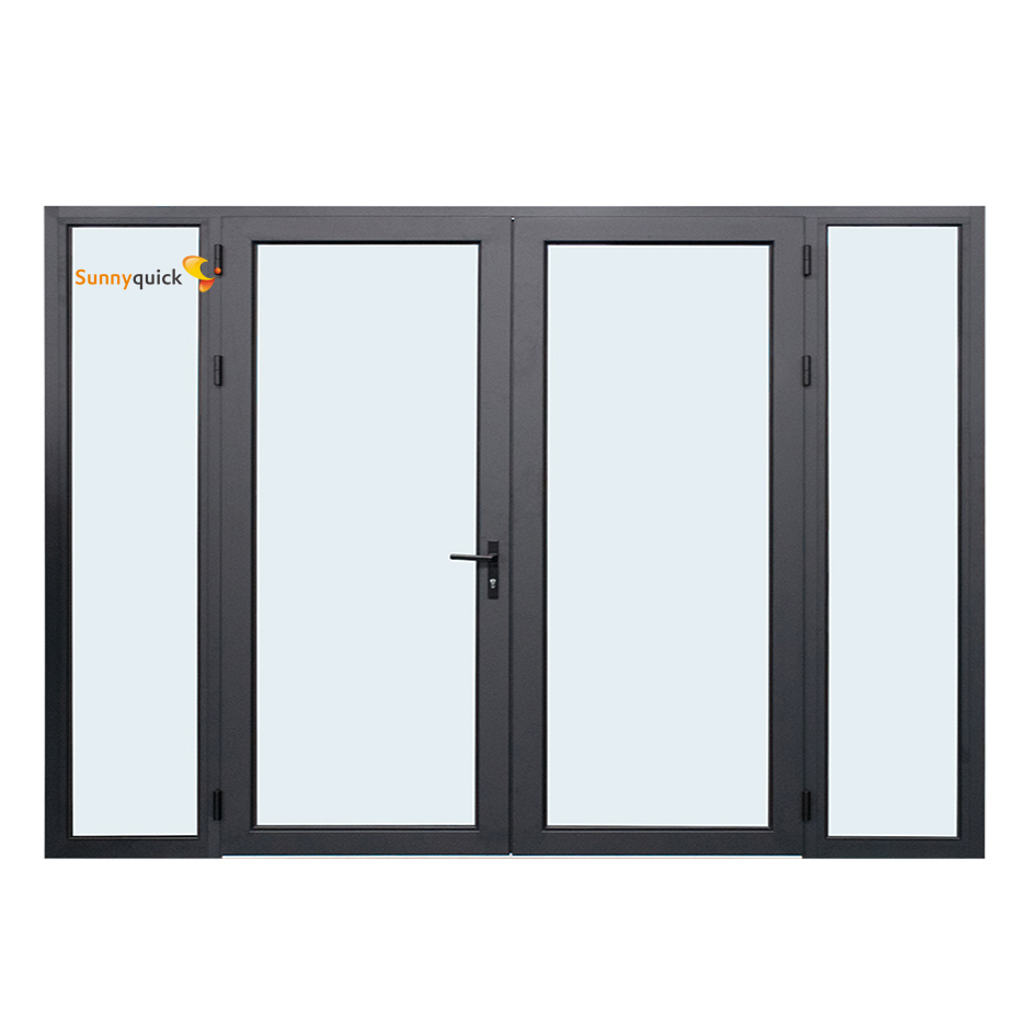 Sunnyquick security aluminum glass double swing doors internal aluminium profile for casement door house