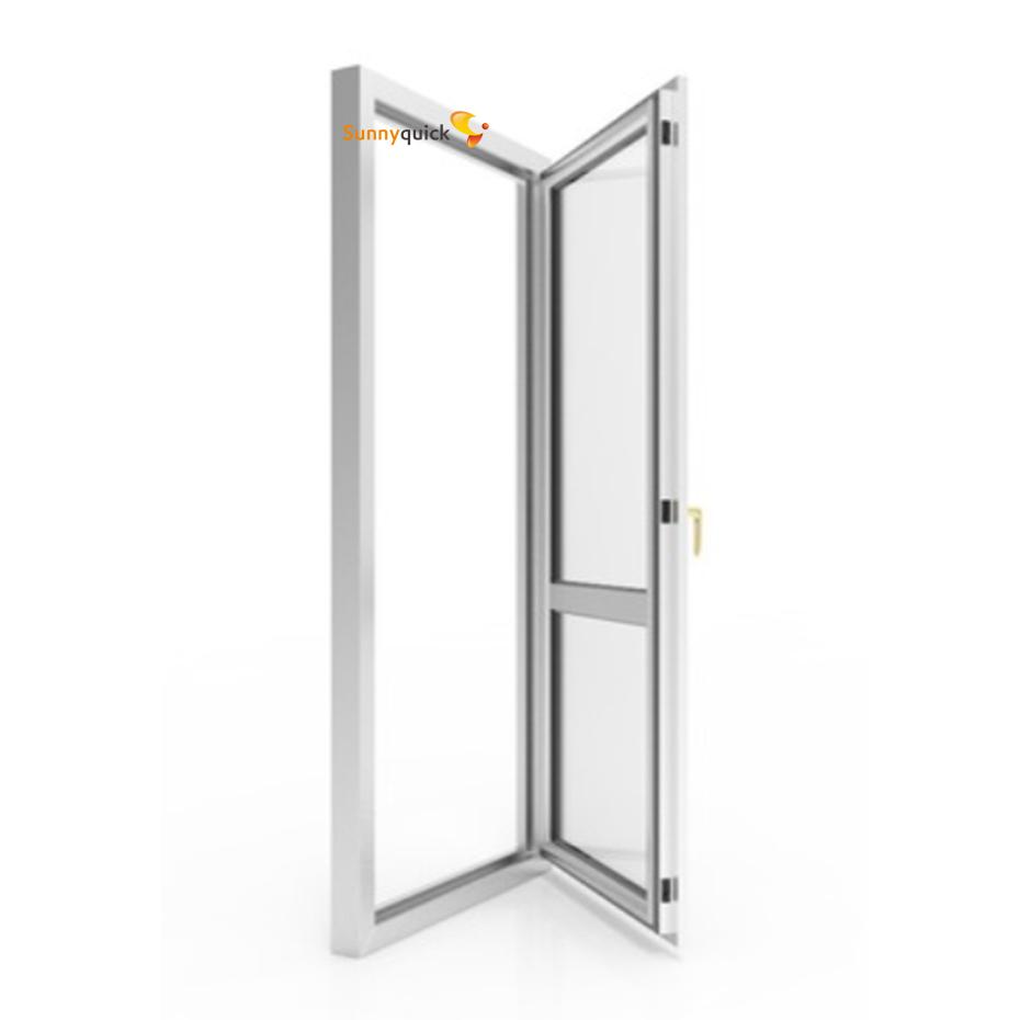 Sunnyquick security aluminum glass swing doors for bathroom bedrooms aluminium casement door modern design