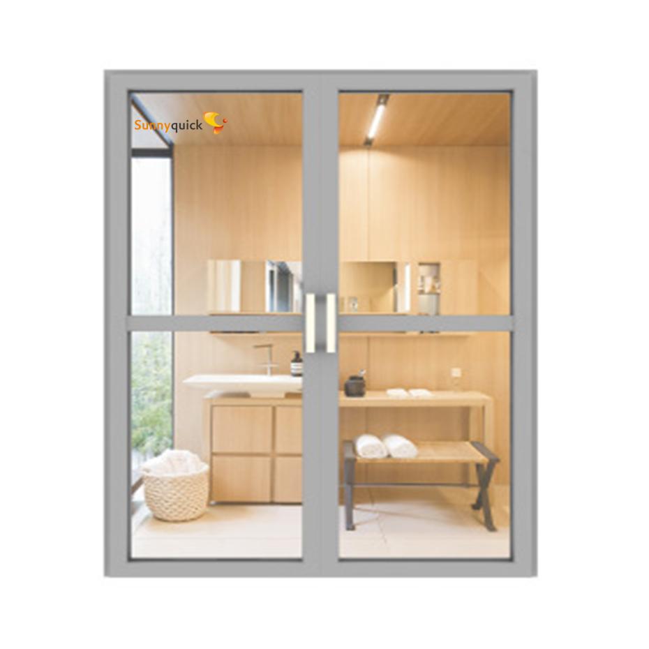 Sunnyquick security aluminum glass double swing doors commercial aluminium casement door and frames