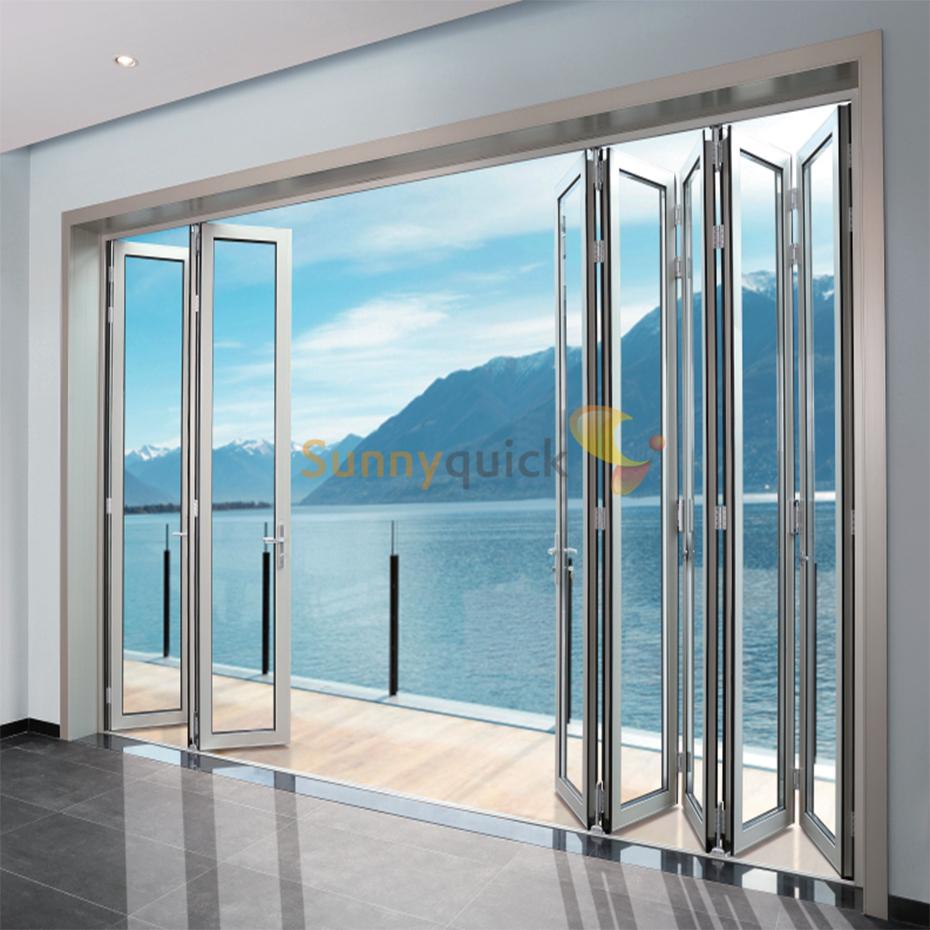 Sunnyquick aluminum glass bi-fold sliding door patio aluminium alloyed bi folding doors with hardware