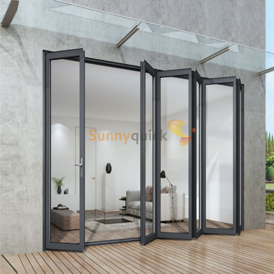 SQ Sunnyquick patio customize aluminum glass bi fold sliding doors system aluminium folding door track accessories