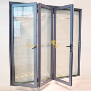 Sunnyquick villa aluminum glass bi-fold door interior aluminium alloyed bi folding sliding doors