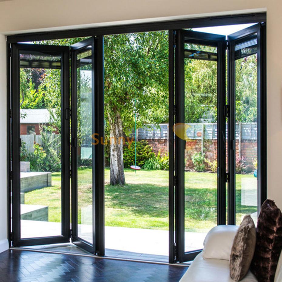 Sunnyquick aluminum glass bi-fold door macaneta aluminium alloyed bi folding sliding doors butt hinge room dividers