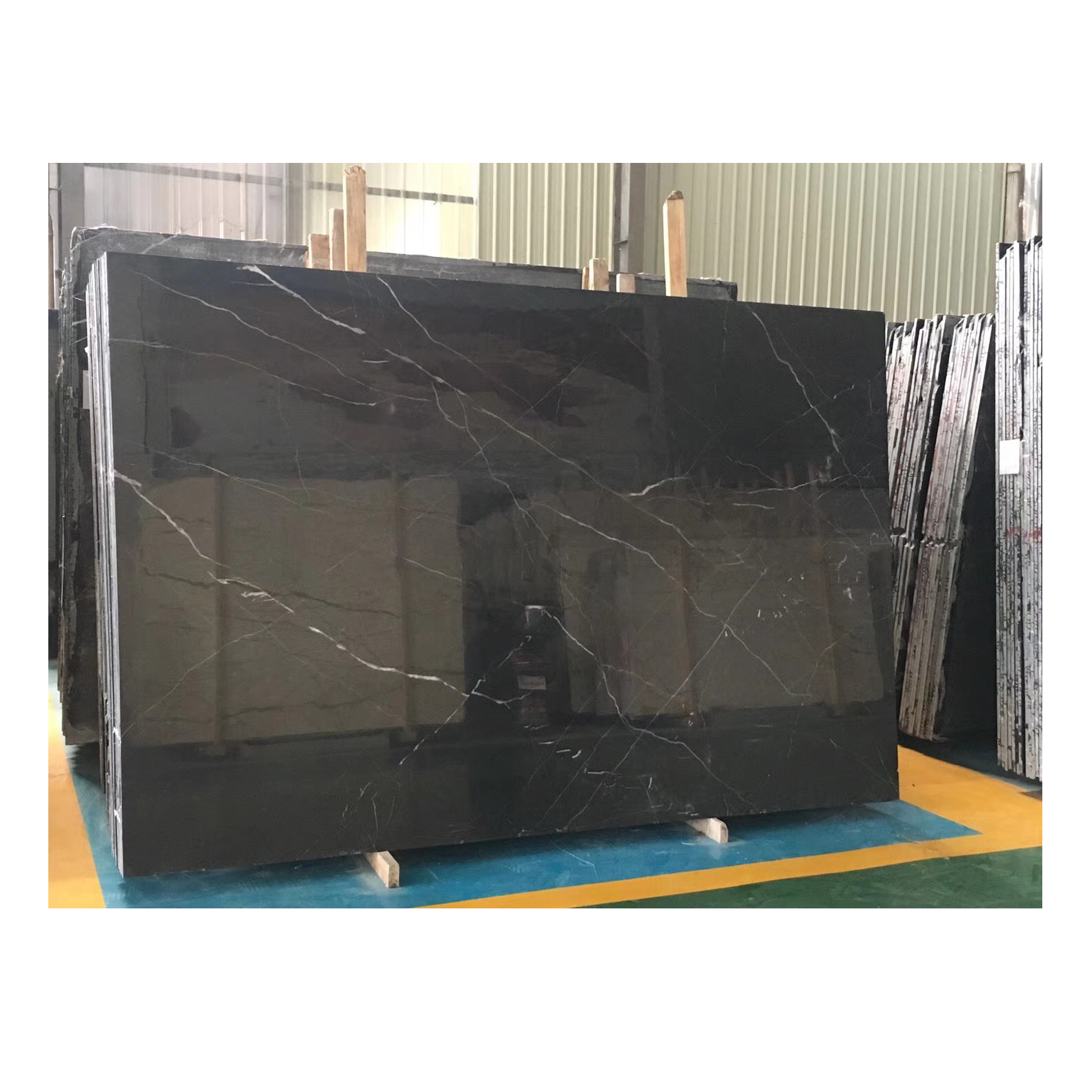 Luxury and cheap black white root marble stone sheets and black marble flooring or wall decor for sale