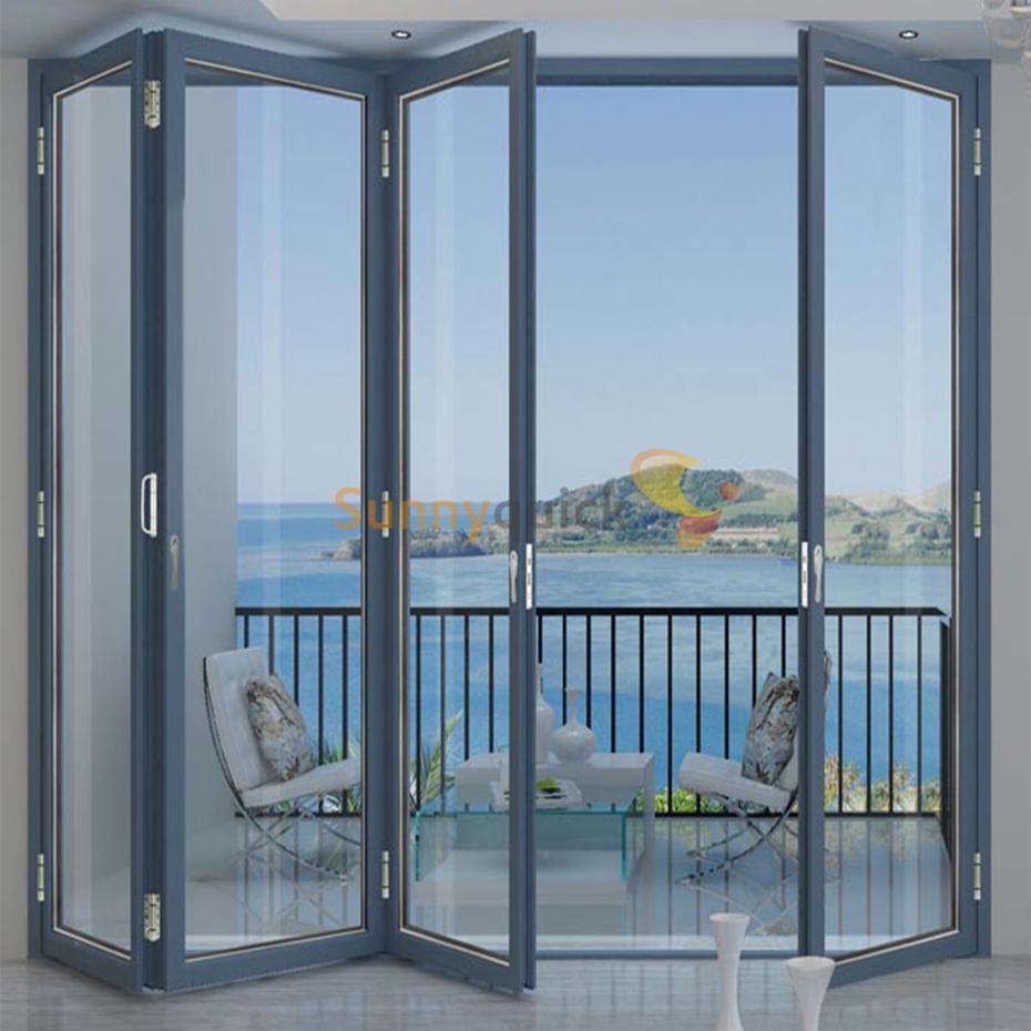 Sunnyquick luxury aluminum glass bi-folding door fold up aluminium alloyed bi folding sliding doors accessories