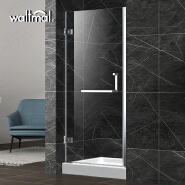 Waltmal Hot Sell Simple Hinge Open Style Frameless Tempered adjustable sliding door With CE ANSI WTM-03261