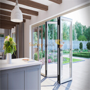 Sunnyquick aluminum glass bifolding door heat resistance aluminium alloyed bi folding sliding doors interior