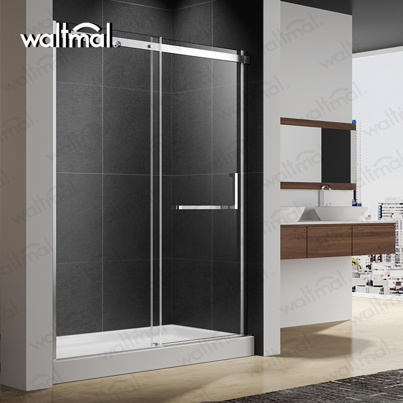 Waltmal Wholesale Customized Cheap Luxury 304 Stainless Steel Sliding Open Style Shower Door For Hotel