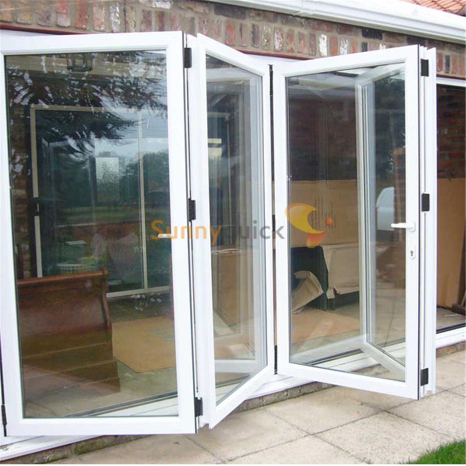 Sunnyquick heat insulation aluminum glass bi-fold door transparent aluminium alloyed bi folding sliding doors diy