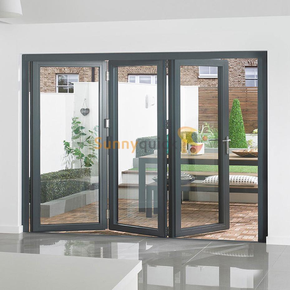 Sunnyquick hotel aluminum glass bi fold door commercial accordion aluminium folding sliding doors dlighding