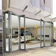 Sunnyquick aluminum glass bi-fold door commercial accordion aluminium alloyed bi folding sliding doors dlighding