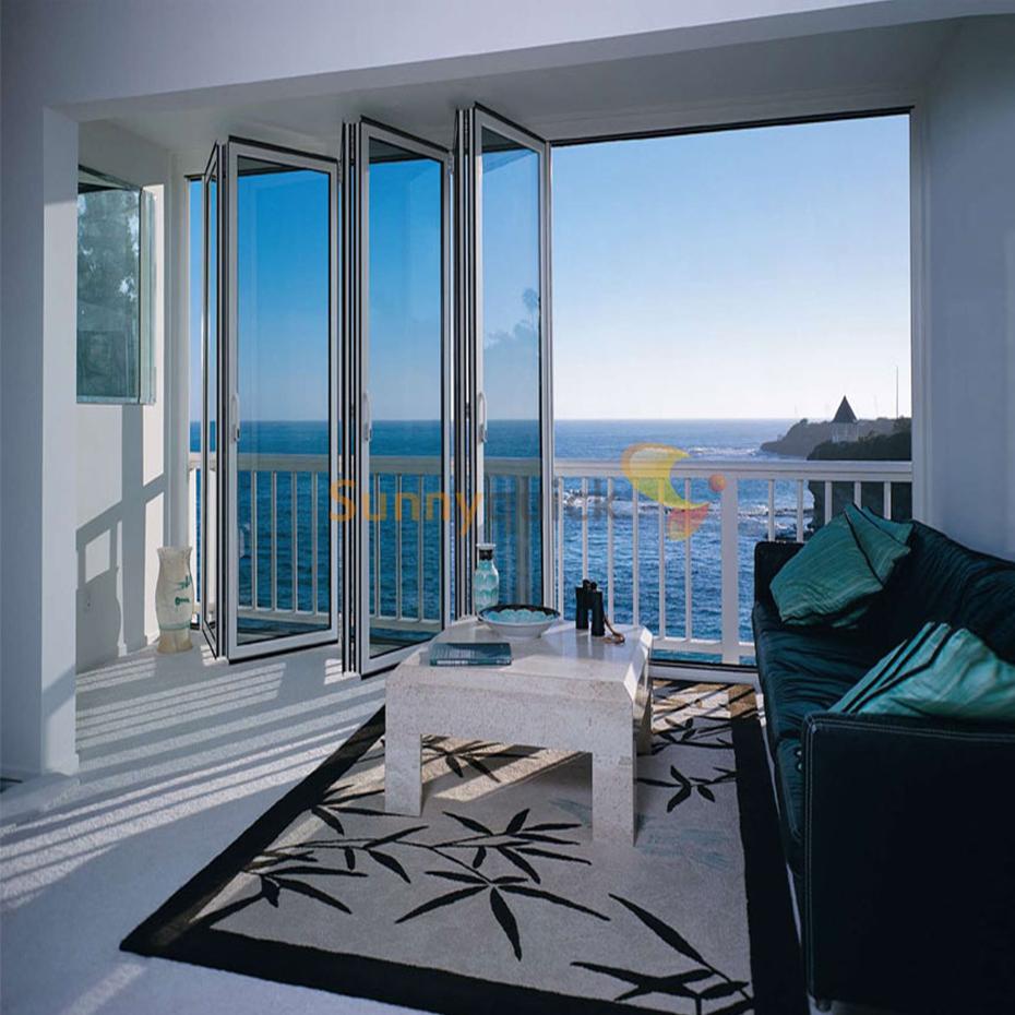 Sunnyquick custom design aluminum glass bi-fold door profile aluminium alloyed bi folding sliding doors handle