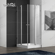 Waltmal Aluminium Frame Material and Square Tray Style Double Pivot Door Shower Cabin