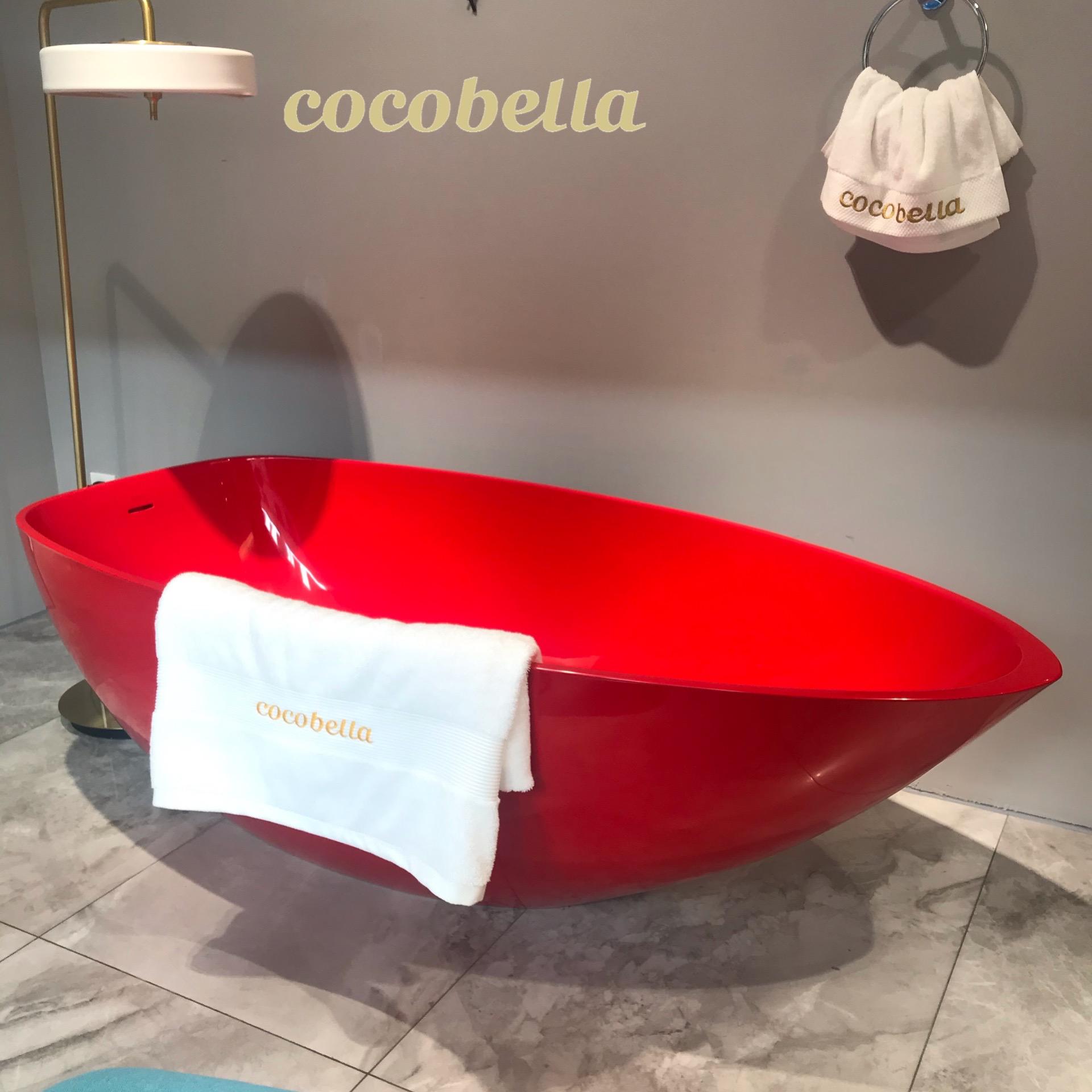 cocobella OEM free standing standalone simple acrylic resin bathtub