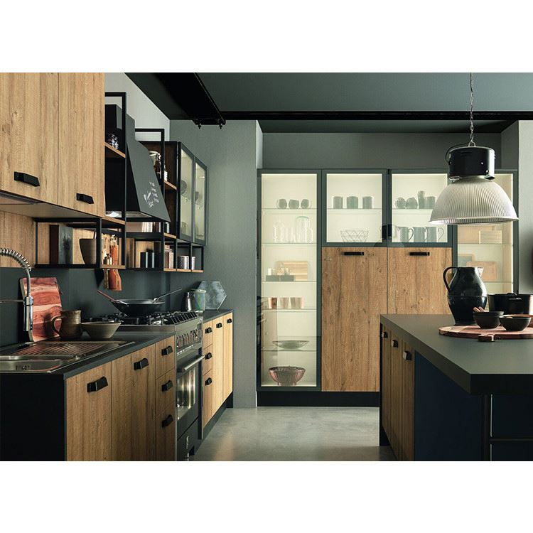 Factory Direct Modular Wooden Veneer Kitchen Cabinet Cheap Professional Furniture Manufacturer