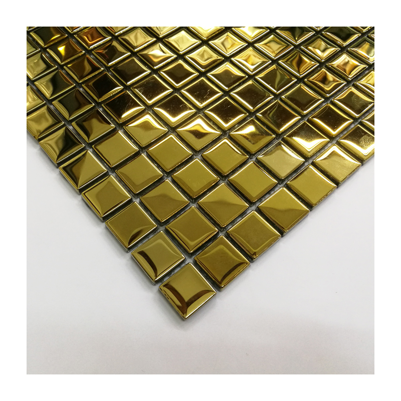 Top-end 23*23mm electroplated gold mosaic tile for wall decor