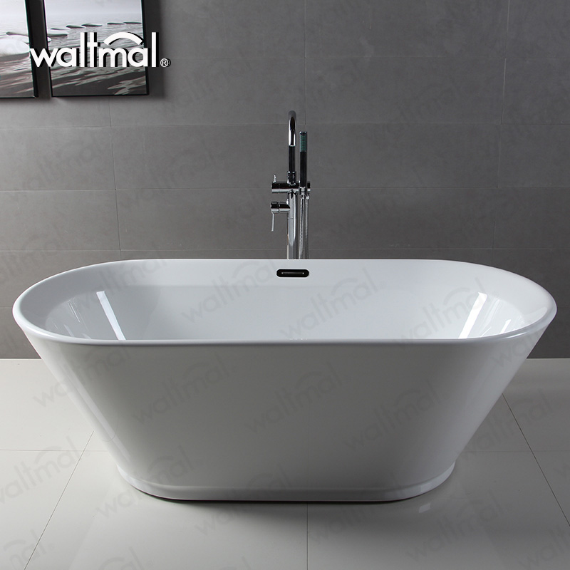 Connected 68 Inch Acrylic Double Ended Freestanding Tub Waltmal