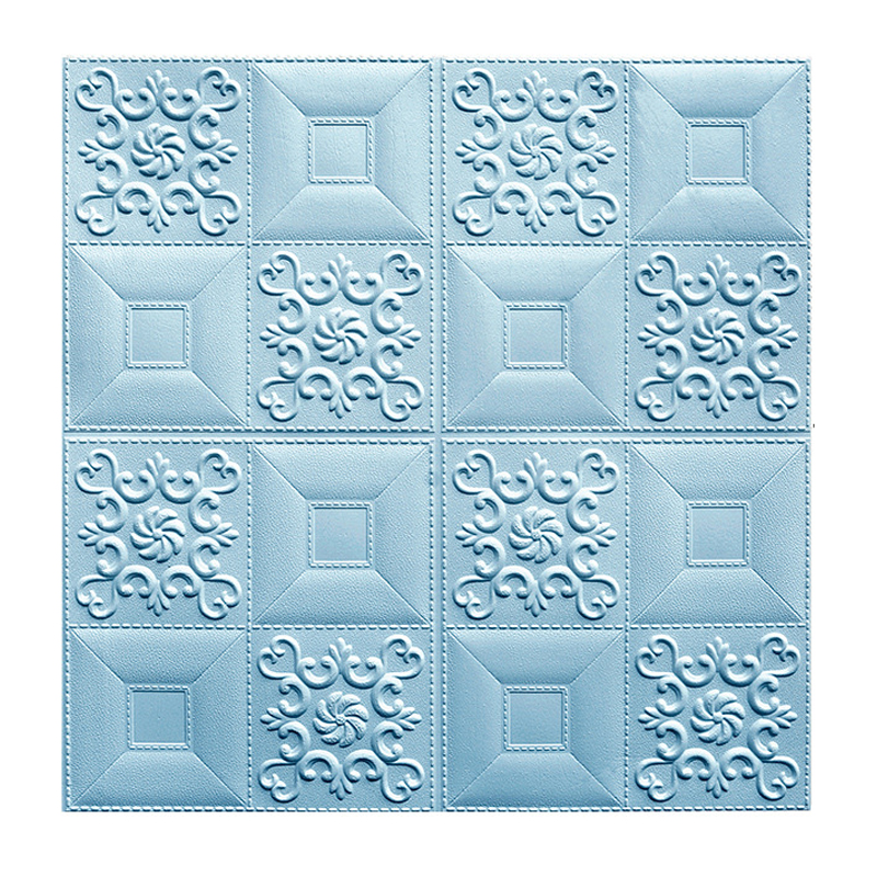 Blue color 3D wallpaper PE foam wall sticker 3D wall panels 3D brick for walls and ceilings
