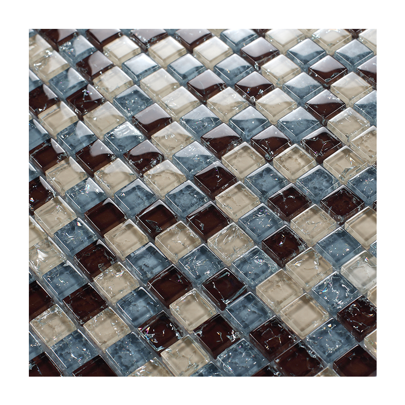 China supply ice cracked crystal glass mosaic tile mixed free pattern sheets design for wall or floor decor