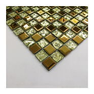 Indian style cheaper price square shape golden electroplate glass mosaic tile for background wall decor