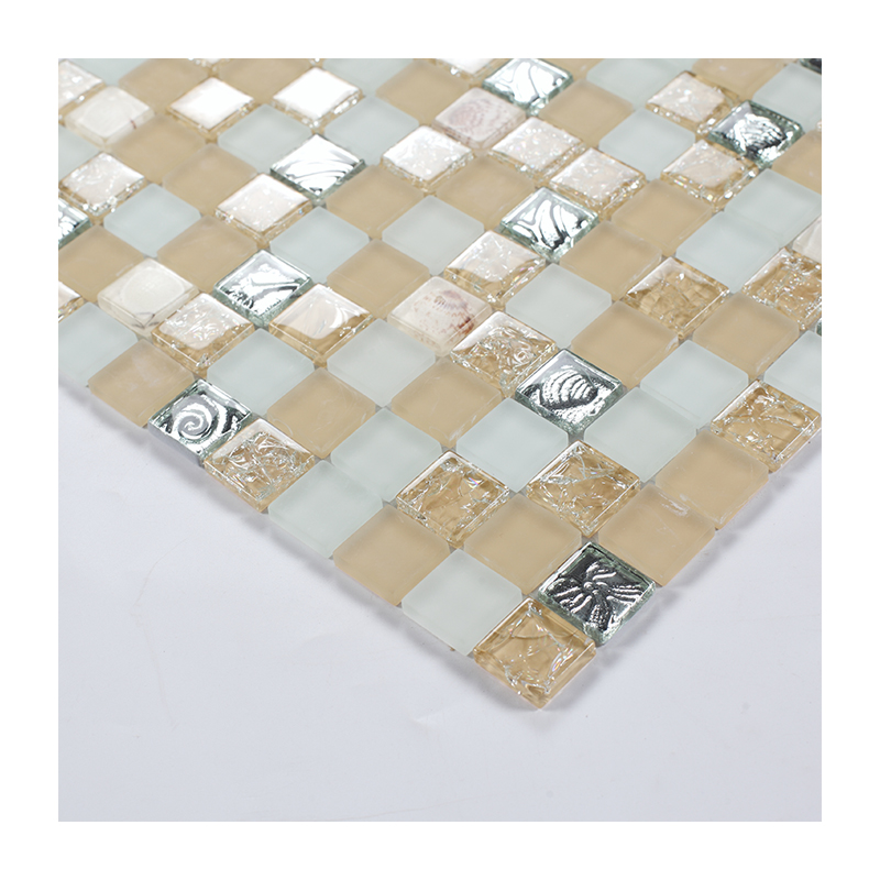 Cheap glass mosaic tiles beige color crystal glass mosaic mix silver square glass mosaic for swimming pool tile
