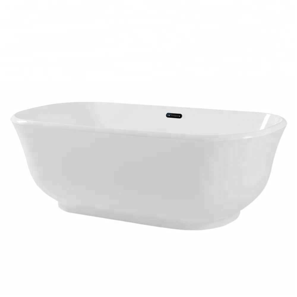 Waltmal Vanity Art Shallow Solid Surface Freestanding Acrylic Bathtub With Drain and Overflow