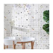 3d PE foam brick wallpaper adhesive wall panel brick wallpaper 3d with star pattern design for sale