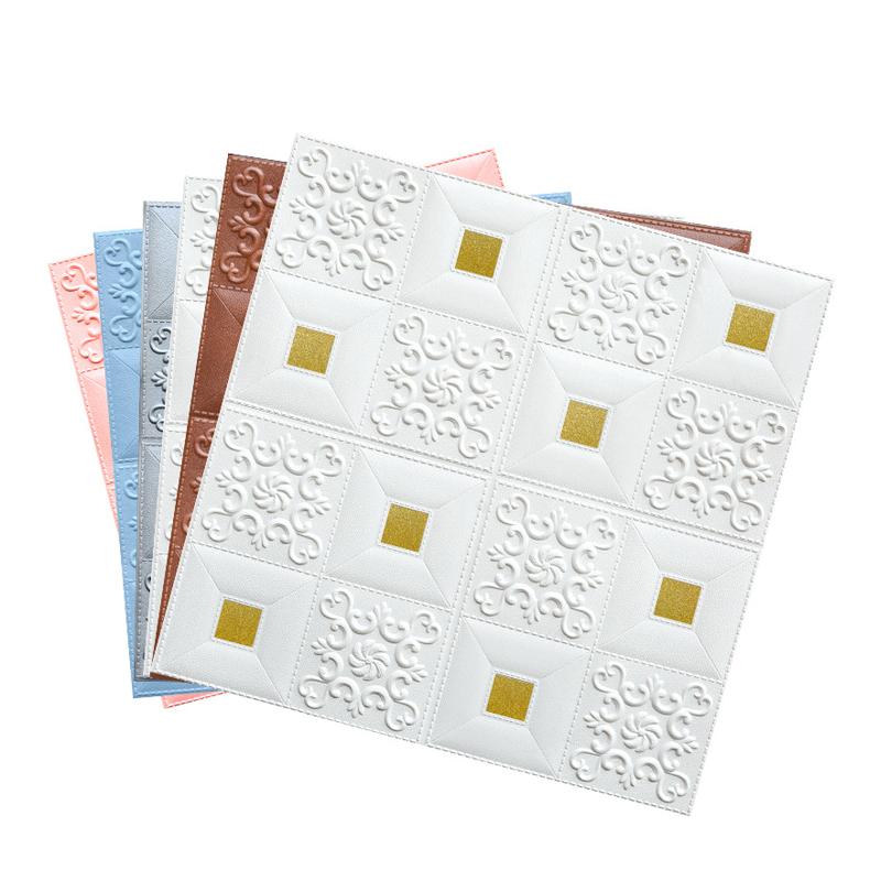 European style self adhesive PE foam 3D wallpaper wall decoration 3d board waterproof wall paper