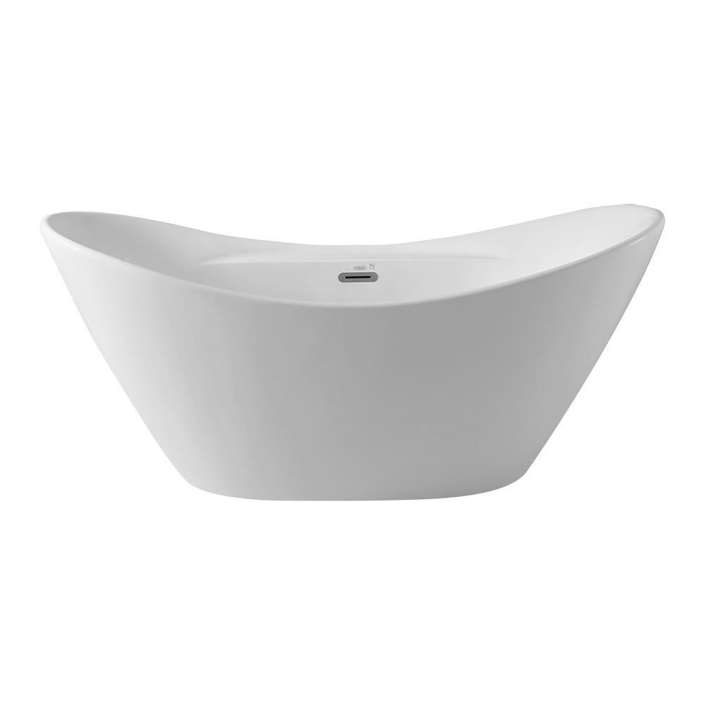 67 Inch High Quality Double Slipper Bathtub, White Glossy Finishing Soaking Freestanding Tub