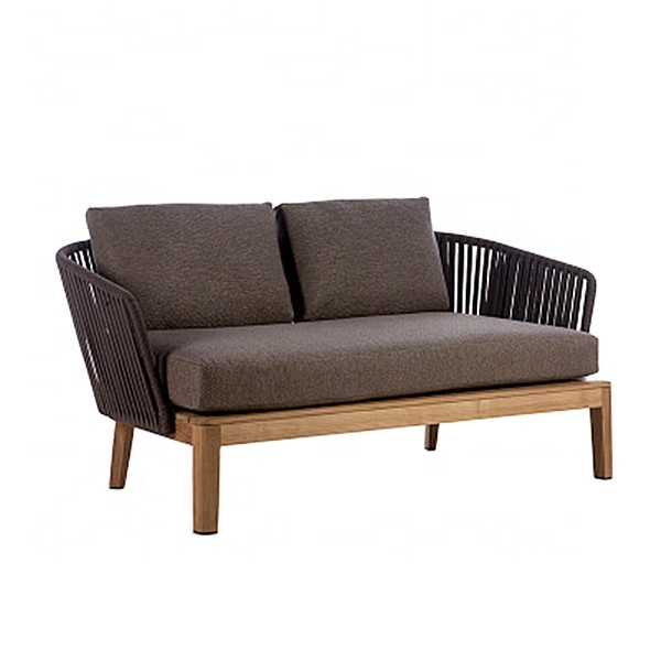 For two people sofa chair with armrests combination villa courtyard teak sofa customized outdoor furniture