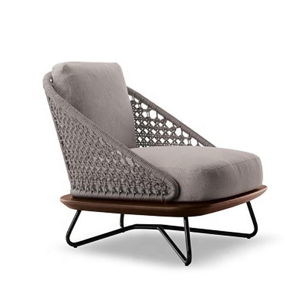 Modern Nordic Leisure Outdoor Sofa Garden Hotel Courtyard Solid Wood Teak Rattan Furniture Combination Single Chair