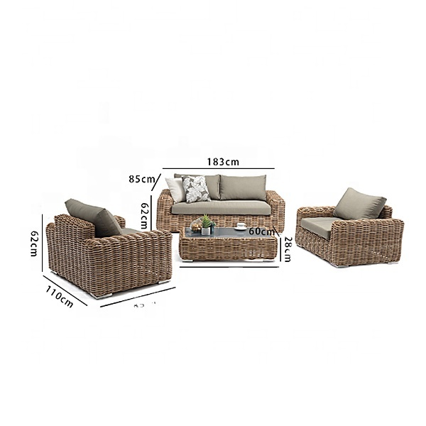Factory Price Rattan Sofa Combination Balcony Courtyard Leisure Rattan Table and Chair Four-piece Outdoor Rattan Furniture