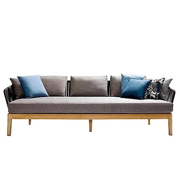 For four people sofa Nordic outdoor rattan sofa combination villa courtyard teak sofa customized outdoor furniture