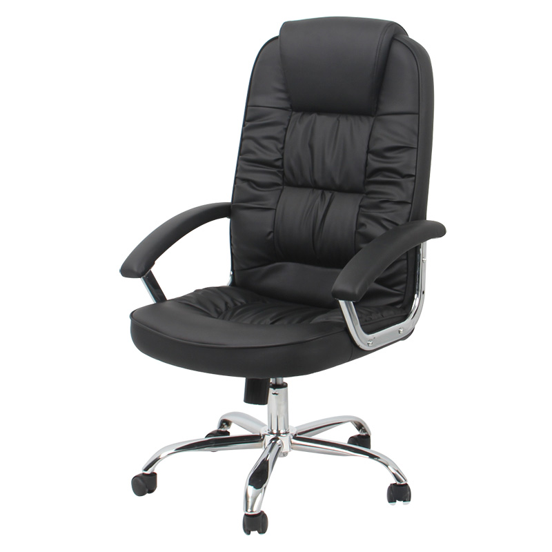 Genuine Leather Swivel Office Chair With Chrome Armrest And chrome Base