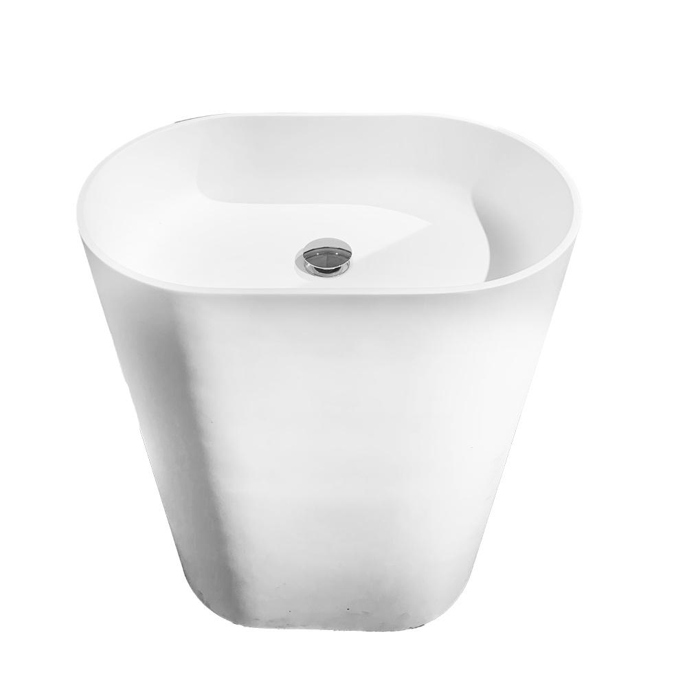 Cylindrical solid surface washbasin ceramic hotel elegant freestanding wash basin