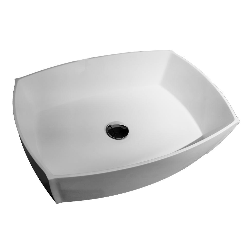Q-PB02 New modern artificial stone square wash basin sink white bathroom washbasin