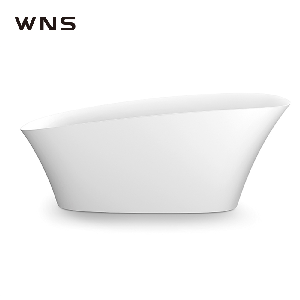 one-piece center bath waste sanitary artificial stone matt surface freestanding acrylic bathtub