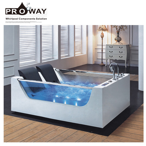 EB377 Modern Bathroom Furniture Massage And Soaking Function Indoor Glass Freestanding Corner Bathtub