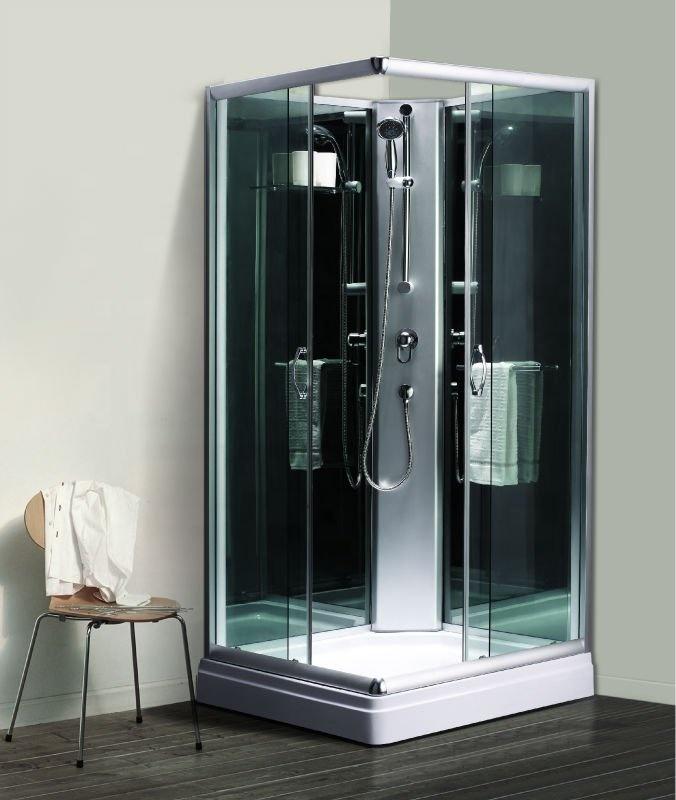 900x900x1950mm Big Size Frame Black Back Simple Glass Shower Cabin